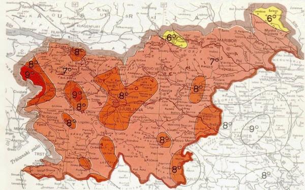 Karta potresne nevarnosti v Sloveniji