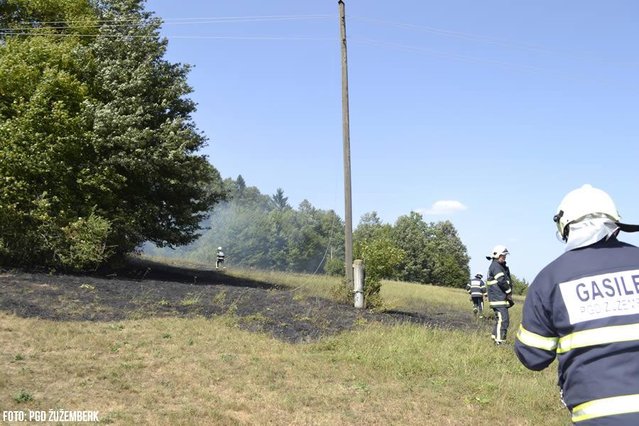 Travniški požar v Trebči vasi